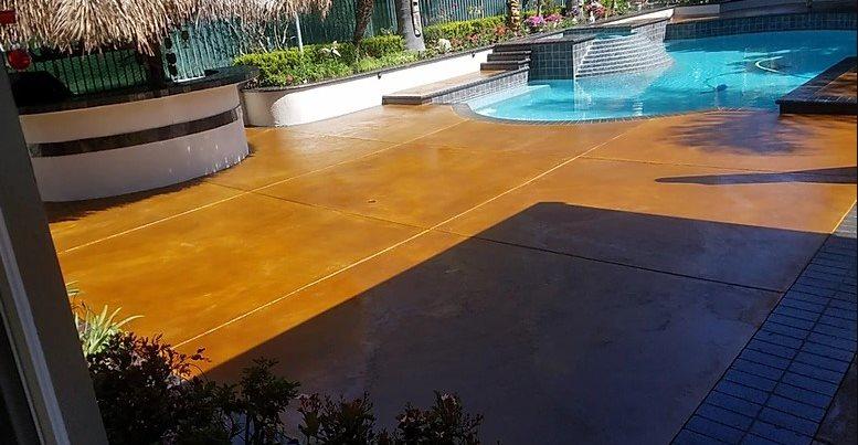 Stain, Pool Deck, Tiki Concrete Pool Decks Modern Concrete San Clemente, CA