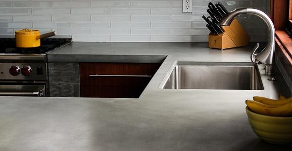 Gray Countertop Site Concrete Wave Design Santa Ana, CA