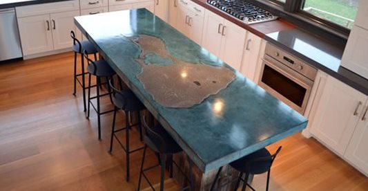 Kitchen, Kitchen Island, Blue, Chairs Concrete Countertops Livingstone Concrete Studios Lincoln, RI