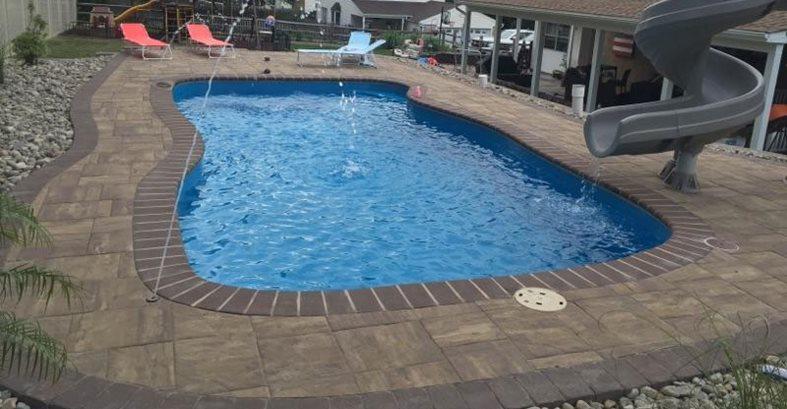 Pool Deck, Stamped, Slide, Water Fountains Concrete Pool Decks Esco Concrete Inc Yardley, PA