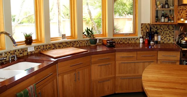 Round Counter, Red Architectural Details Flowstone Concrete Studio Sacramento, CA
