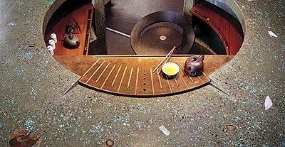 Asian, Round Bar Concrete Countertops Cheng Design Products Inc. Berkeley, CA