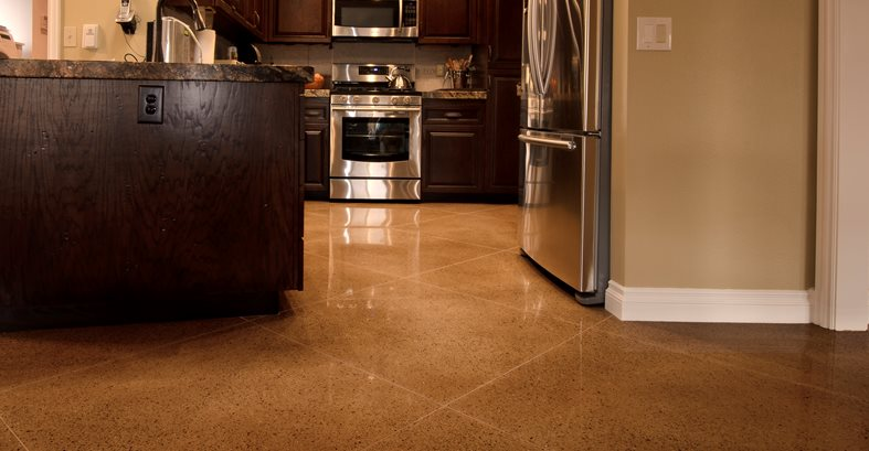 Kitchen Floor, Polishable Overlay Site ACI Flooring Inc Beaumont, CA