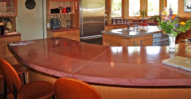 Round Red Counter Architectural Details Flowstone Concrete Studio Sacramento, CA