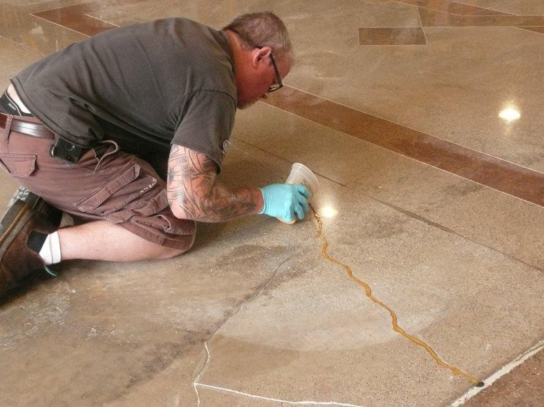 Filling Cracks, Metallic Epoxy Site Decorative Concrete Institute Temple, GA