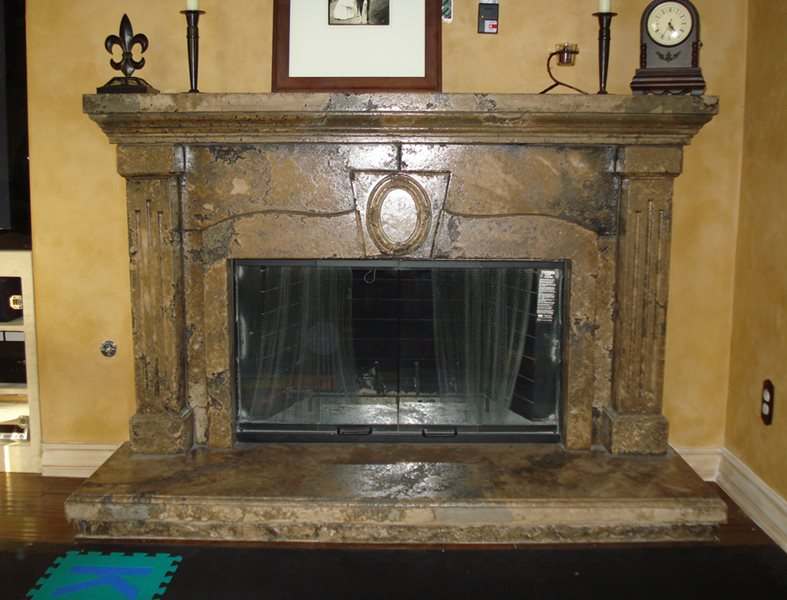 Faux Stone, Fireplace Surround Site Countertop Solutions Santee, CA